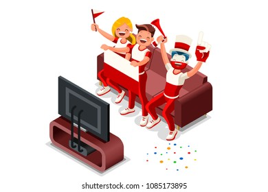 Russia 2018 world cup, Polish football fans. Cheerful soccer fans, supporters crowd and Poland flag. Polish national day. Isometric people, vector illustration, sports images. Isolated background.
