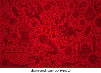 Russia 2018 World Cup red background world cup. Russian pattern with modern and traditional elements. 2018 trend vector illustration.