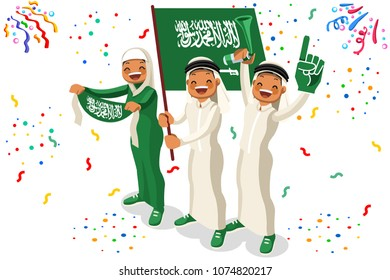 Russia 2018 world cup, Saudi Arabian football supporters. Cheerful soccer supporters crowd and Saudi Arabia flag. Flat Isometric people celebrating Saudi Arabian national day. Vector illustration web.