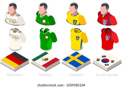 Russia 2018 world cup Soccer world cup jersey. Group F of players with team shirts flags and ball. referee football vector illustration.