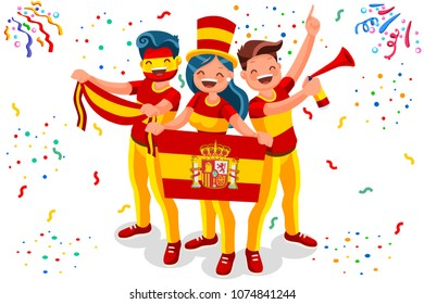 Russia 2018 world cup, Spain football supporters. Cheerful soccer supporters crowd and Spanish flag. Flat Isometric people celebrating Spain national day. Vector illustration web banner, hero images.
