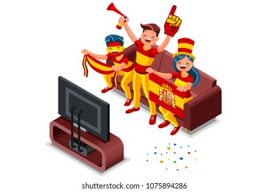 Russia 2018 world cup, Spanish football supporters. Cheerful soccer supporters crowd and Spain flag. Flat Isometric people celebrating Spanish national day.  Illustration web banner, hero images