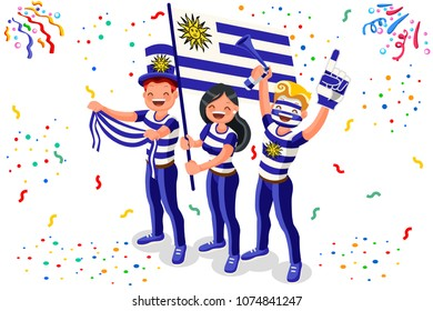Russia 2018 world cup, Uruguay football supporters. Cheerful soccer supporters crowd Uruguayan flag. Flat Isometric people celebrating Uruguay national day. Vector illustration web banner, hero images