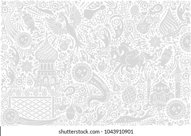 Russia 2018 World Cup white background world cup. Russian pattern with modern and traditional elements. 2018 trend vector illustration.