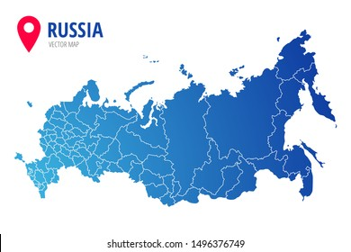 Russia administrative map with borders of regions blue silhouette icon isolated on white background. Vector illustration