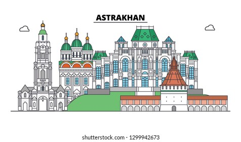 Russia, Astrakhan. City skyline: architecture, buildings, streets, silhouette, landscape, panorama. Flat line, vector illustration. Russia, Astrakhan outline design.