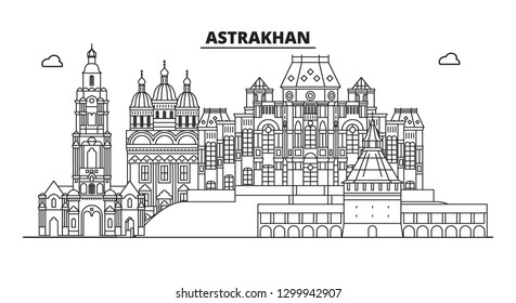 Russia, Astrakhan. City skyline: architecture, buildings, streets, silhouette, landscape, panorama, landmarks. Editable strokes. Flat design, line vector illustration concept. Isolated icons