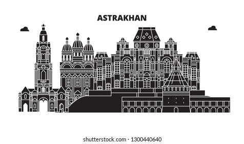 Russia, Astrakhan. City skyline: architecture, buildings, streets, silhouette, landscape, panorama. Flat line, vector illustration.