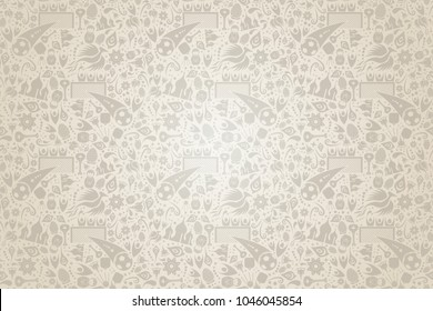 Russia background in modern trend style with traditional russian culture and sports symbols. Wallpaper pattern design includes moscow landmark, football icons, floral elements. EPS10 vector.