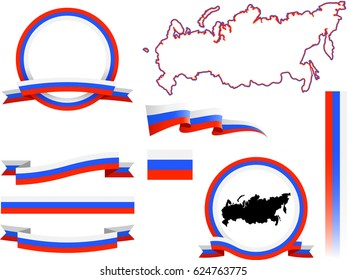 Russia Banner Set. Vector graphic flags, banners and ribbons of Russia.