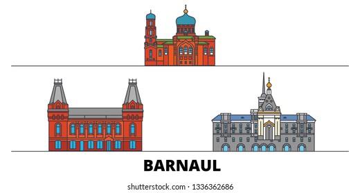 Russia, Barnaul flat landmarks vector illustration. Russia, Barnaul line city with famous travel sights, skyline, design.