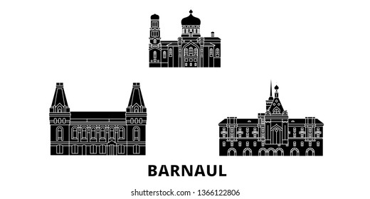 Russia, Barnaul flat travel skyline set. Russia, Barnaul black city vector illustration, symbol, travel sights, landmarks.