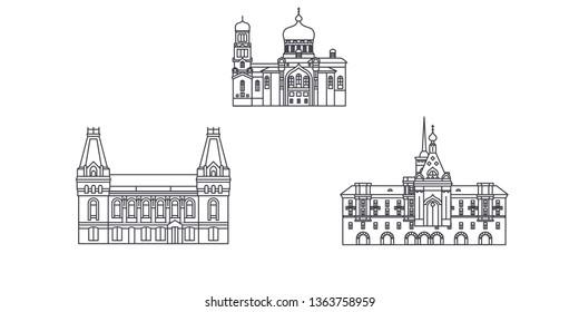 Russia, Barnaul line travel skyline set. Russia, Barnaul outline city vector illustration, symbol, travel sights, landmarks.
