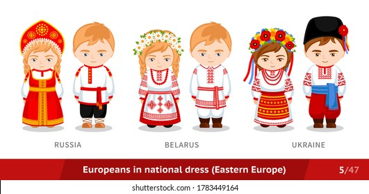 Russia, Belarus, Ukraine. Men and women in national dress. Set of european people wearing ethnic clothing.Cartoon characters in traditional costume. Eastern Europe. Vector flat illustration.