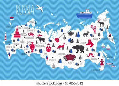 Russia cartoon travel vector map, landmark Kremlin palace, Moscow, russian symbols, matryoshka, samovar, balalaika, felt boots, wild animals and other, decorative poster flat style for design tourism