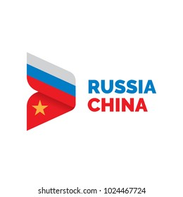 Russia and China Flag Logo design template.