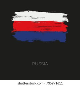 Russia colorful brush strokes painted national country flag icon. Painted texture.