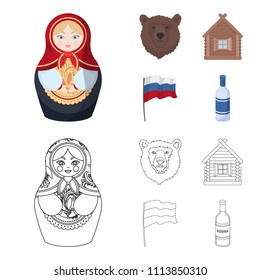 Russia, country, nation, matryoshka .Russia country set collection icons in cartoon,outline style vector symbol stock illustration web.