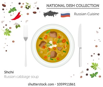 Russia Cuisine. European national dish collection. Russian cabbage soup shchi isolated on white, infographic. Vector illustration