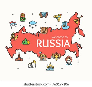 Russia Culture Design Template Line Icon Welcome to Moscow Concept and Silhouette Map Russian Travel National Tourism. Vector illustration