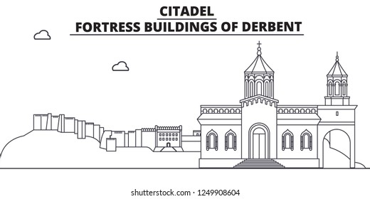 Russia, Dagestan, Derbent, Citadel travel famous landmark skyline, panorama, vector. Russia, Dagestan, Derbent, Citadel linear illustration