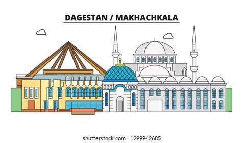 Russia, Dagestan, Makhachkala. City skyline: architecture, buildings, streets, silhouette, landscape, panorama. Flat line, vector illustration. Russia, Dagestan, Makhachkala outline design.