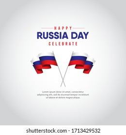 Russia day celebrations vector template.