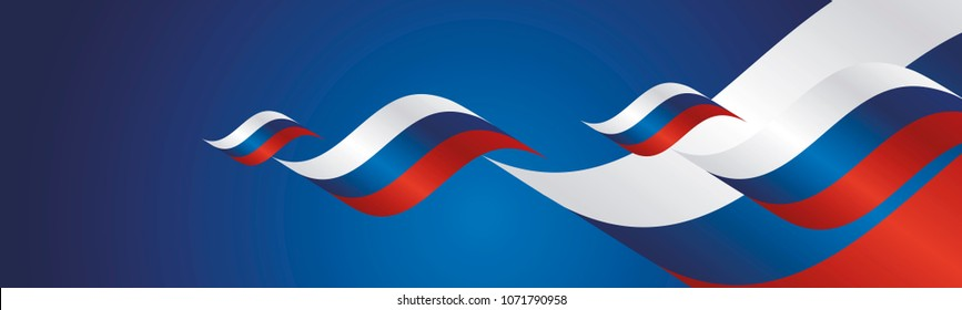 Russia Day waving flags two fold blue landscape background