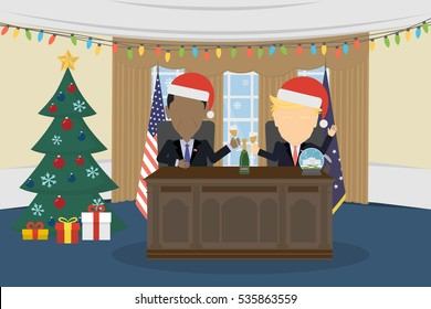 Russia December 12, 2016 Donald Trump, Barack Obama in White House and santa hat.