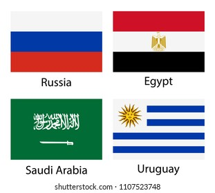 Russia, Egypt, Saudi Arabia, Uruguay. Set of vector national flags icons isolated on white background. Proportion 2:3.