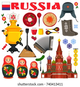 Russia famous items set of icons representing images of typical russian cutlery, churches and traditions vector illustration isolated on white