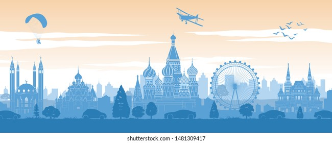 Russia famous landmark in back of car and street in scenery style silhouette design in blue and orange yellow color,vector illustration