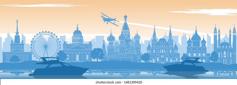 Russia famous landmark in back of river and yacht in scenery style silhouette design in blue and orange yellow color,vector illustration