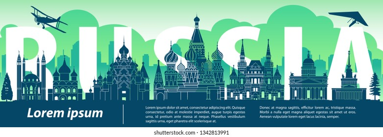 Russia famous landmark silhouette style,text within,travel and tourism,blue and green tone color theme,vector illustration