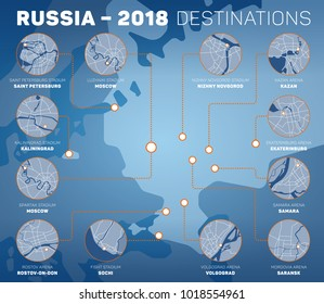 RUSSIA - FEBRUARY 2018: Infographic design representing venues of Russia 2018 football championship. Host cities of soccer tournament. Vector set of maps.