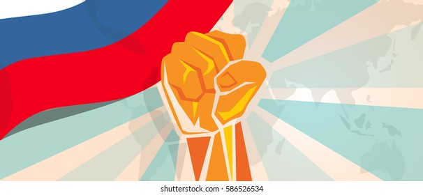 Russia fight and protest independence struggle rebellion show symbolic strength with hand fist illustration and flag