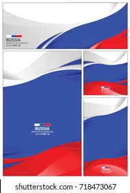 Russia flag abstract colors background. Collection banner design. brochure vector illustration.