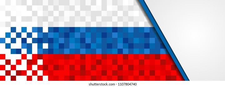 Russia flag background in pixel art style. Pixelated russian web banner design with copy space. EPS10 vector.