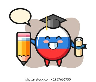 Russia flag badge illustration cartoon is graduation with a giant pencil, cute style design for t shirt, sticker, logo element