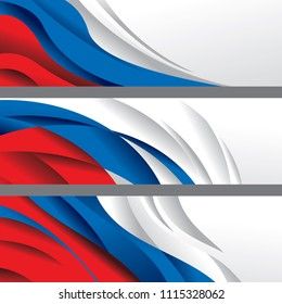 Russia Flag Color Abstract Banner Collection (Vector Art)