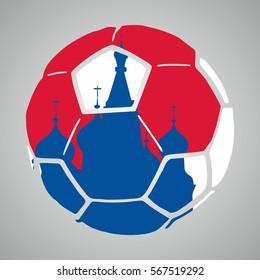 Russia flag color soccer ball graphic design vector art