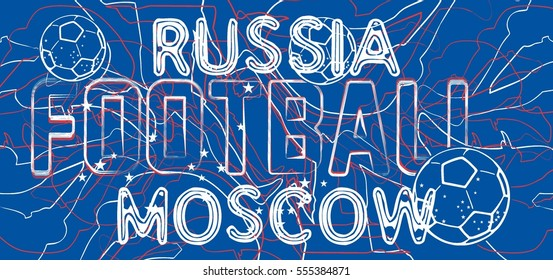 Russia flag color and soccer player graphic design vector art
