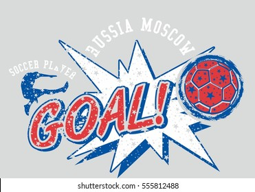 russia flag color soccer player graphic design vector art