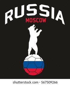 Russia flag football style graphic design vector art