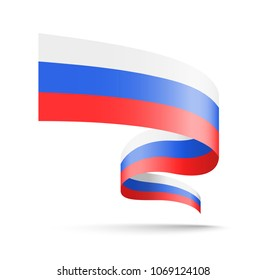 Russia flag in the form of wave ribbon. Vector illustration on white background.