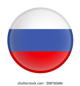 Russia flag Glossy Button - Vector
