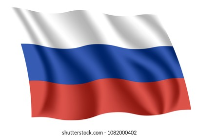 Russia flag. Isolated national flag of Russia. Waving flag of the Russian Federation. Fluttering textile flag. Tricolor.