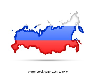 Russia flag and outline of the country on a white background.