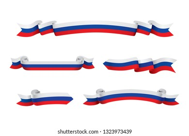 Russia flag ribbon isolated on white background. Vector illustration
