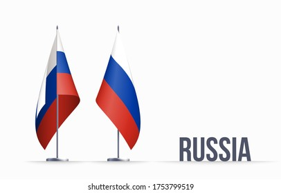 Russia flag state symbol isolated on background national banner. Greeting card National Independence Day of the Russian Federation. Illustration banner with realistic state flag of RF.